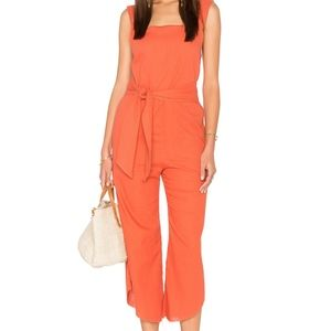 Lucca Couture Square Neck Belted Cropped Jumpsuit